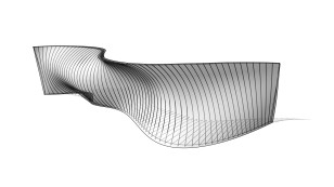 Double-curved wall with reinforcement
