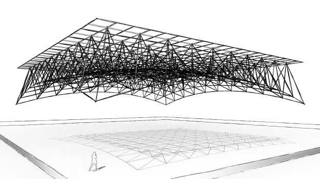 Space Frame based on Massing, Adaptive Components and The Pythagorean Theorem