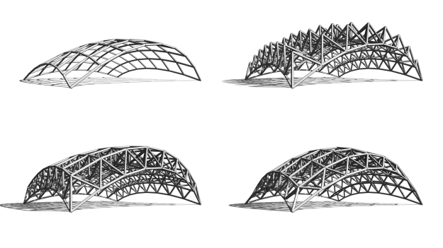 The four steps in building a Double-Curved Space Frame with computed varying thickness in Dynamo