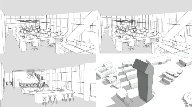 Various 14. floor b&w interior perspectives