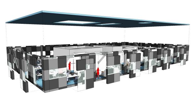 14. floor: 8 different randomized Pixel Facade modules